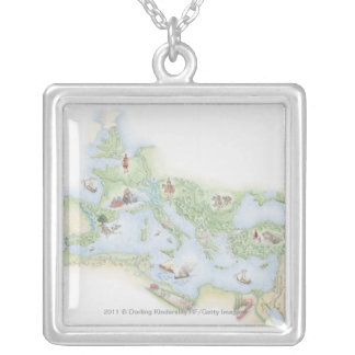 Illustrated map of Roman Empire Silver Plated Necklace