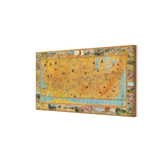 Illustrated Map of US Airways Canvas Print