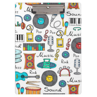 Illustrated music objects clipboard