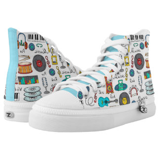 Illustrated music objects high tops