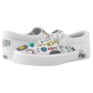 Illustrated music objects slip on shoes