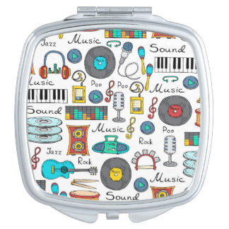 Illustrated musical objects vanity mirror