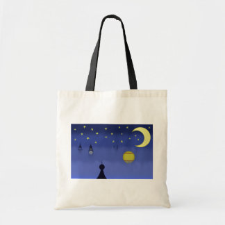Illustrated Night Sky Tote Canvas Bag