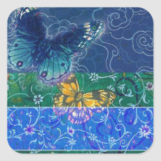 illustrated oriental butterfly wedding square sticker
