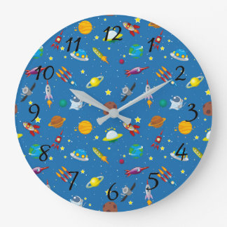 Illustrated out of space objects large clock