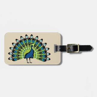 Illustrated Peacock Background Luggage Tag