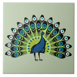 illustrated Peacock Tile