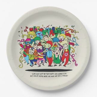 Illustrated People Dancing 9 Inch Paper Plate