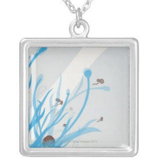 Illustrated Plant Silver Plated Necklace