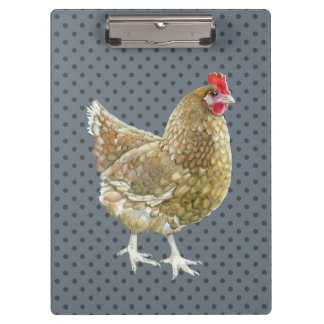 Illustrated Polka Dot Chicken Clipboard