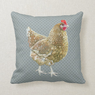 Illustrated Polka Dot Chicken Throw Cushion