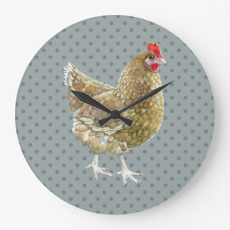 Illustrated Polka Dot Chicken Wall Clock