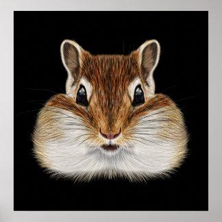 Illustrated portrait of Chipmunk. Poster