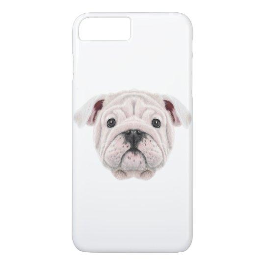 Illustrated portrait of English Bulldog puppy. iPhone 8 Plus/7 Plus Case