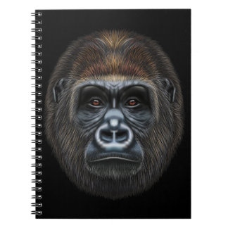 Illustrated portrait of Gorilla male. Notebooks