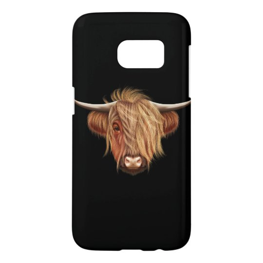 Illustrated portrait of Highland cattle.