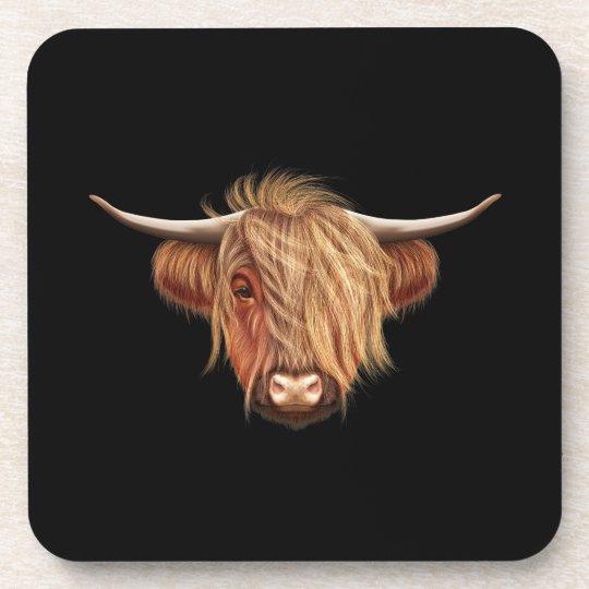 Illustrated portrait of Highland cattle. Coaster