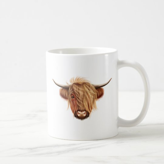 Illustrated portrait of Highland cattle. Coffee Mug