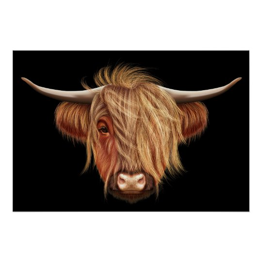 Illustrated portrait of Highland cattle. Poster