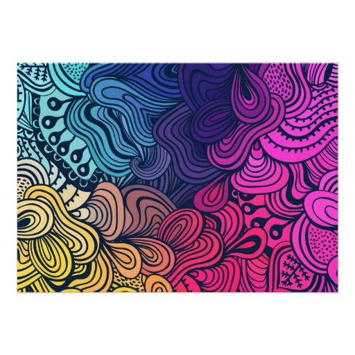 Illustrated Psychedelic Floral Pattern Invites