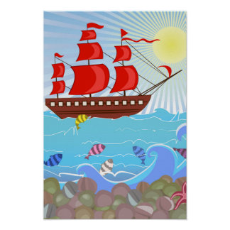 Illustrated Red Pirate Ship Poster