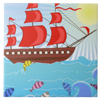 Illustrated Red Pirate Ship Tile