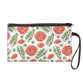 Illustrated Roses Floral Pattern Wristlet Clutches