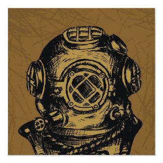Illustrated Scuba Diving Helmet 13 Cm X 13 Cm Square Invitation Card