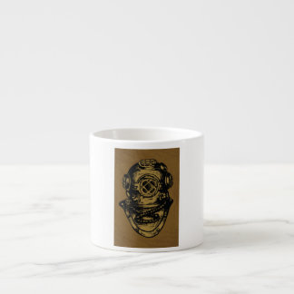 Illustrated Scuba Diving Helmet Espresso Cup