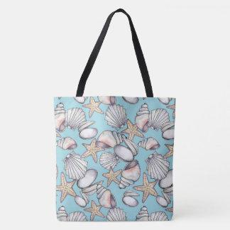 Illustrated Sea Shells Pattern Tote Bag -Aqua BG