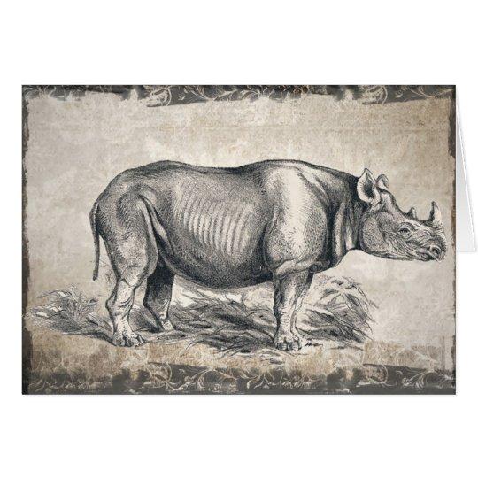 Illustrated Sepia Rhino Happy Birthday Card