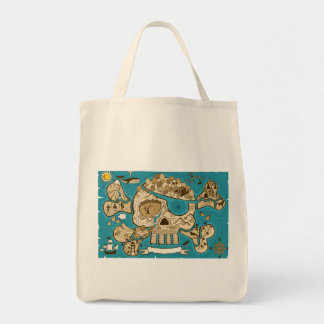Illustrated Skull Island Map Grocery Tote Bag