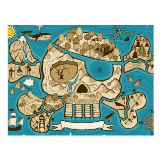 Illustrated Skull Island Map Postcard
