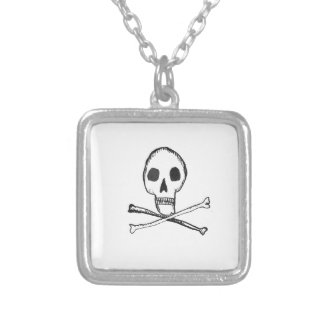 Illustrated Skull Square Pendant Necklace