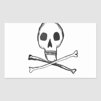 Illustrated Skull Rectangular Sticker