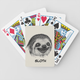 Illustrated Sloth Face Bicycle Playing Cards