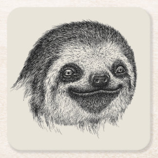 Illustrated Sloth Face Square Paper Coaster