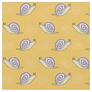 Illustrated Snail and Swirls Pattern Fabric