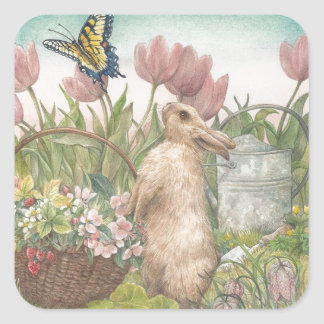 illustrated spring bunny in garden square sticker