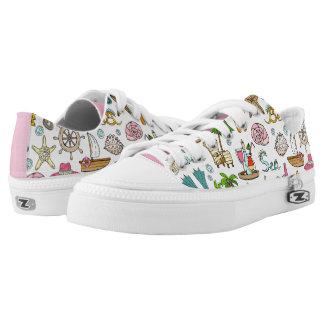 illustrated summer and beach objects low tops