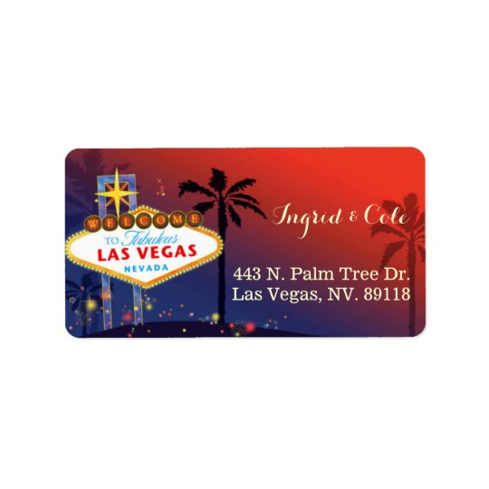 Illustrated Twilight Las Vegas Wedding Address Label