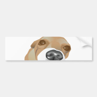 Illustrated vector portrait of a little dog bumper sticker