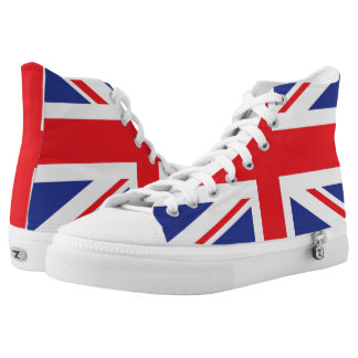 Illustrated version of the british flag high tops