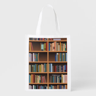 Illustrated Wide Bookshelf Reusable Grocery Bag