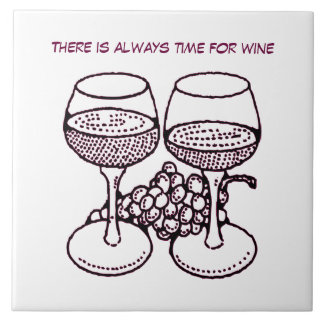Illustrated Wine Glasses and Grapes Tile