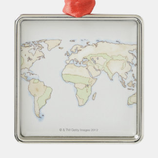Illustrated World Map 2 Christmas Ornament