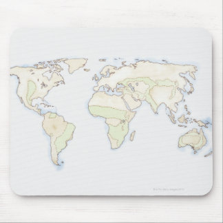 Illustrated World Map 2 Mouse Mat