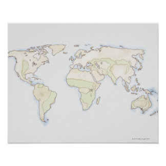 Illustrated World Map 2 Poster