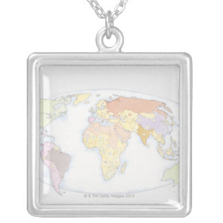 Illustrated World Map 3 Silver Plated Necklace