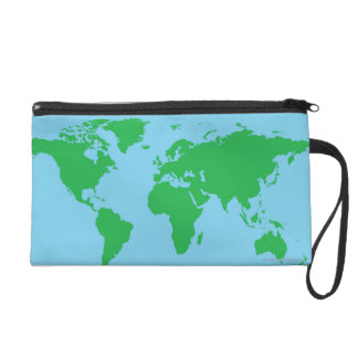 Illustrated World Map Wristlet